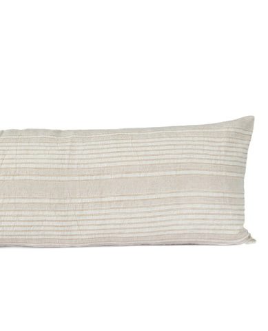 Sevilla Linen Striped Cushion Sand/Ivory