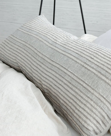Sevilla Linen Striped Cushion Stone/Grey