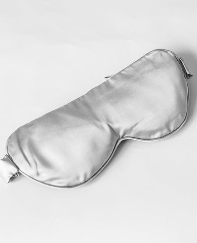 100% Silk Weighted Sleep Mask Silver