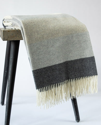 Soho Cashmere & Wool Charcoal/Taupe Stripe Throw