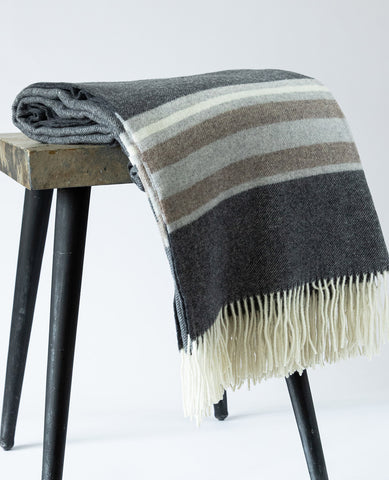 Soho Cashmere & Wool Grey/Charcoal Stripe Throw
