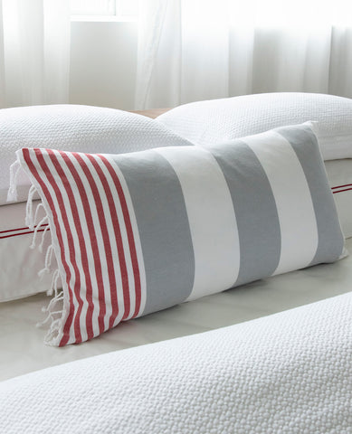 Turkish Fouta Pillow Red/Grey Stripe