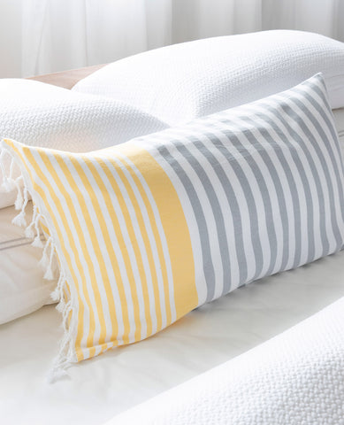 Turkish Fouta Pillow Yellow/Grey Stripe