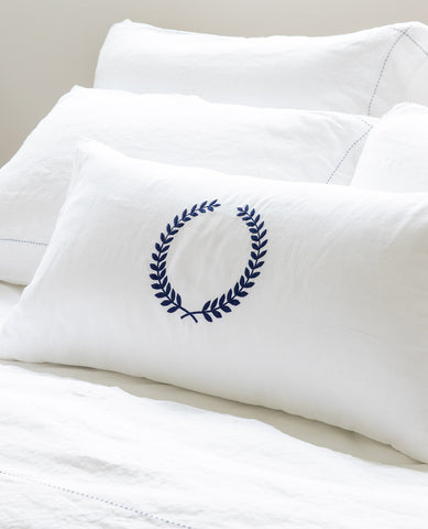 White Linen Navy Wreath Cushion