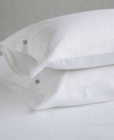 Maple Leaf Embroidered Linen & Cotton Pillow Cases