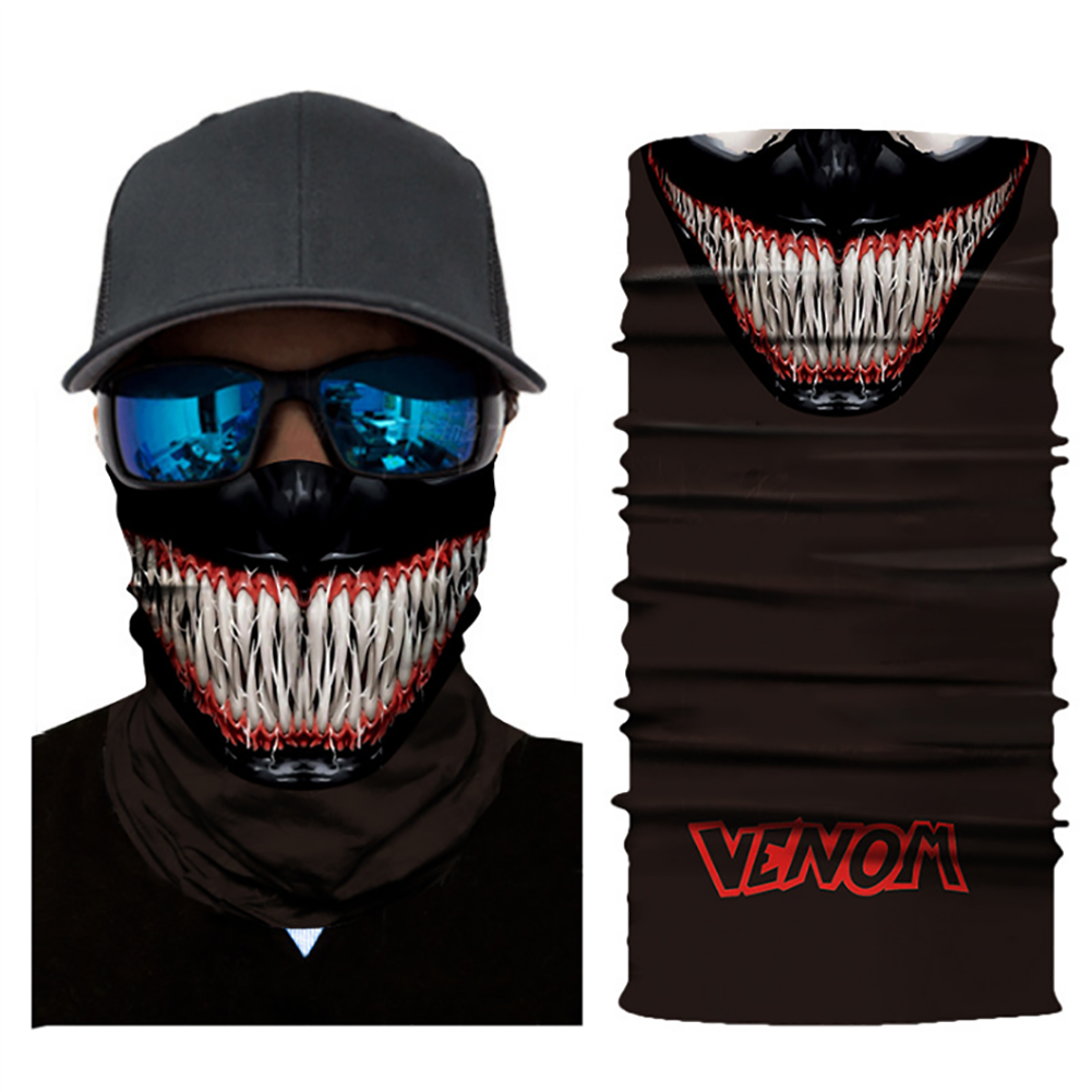 Xcostume Super Hero Bandanas Venom Mask Cool Motorcycle Riding Gear Neck Cover Winter Riding Mask for Men