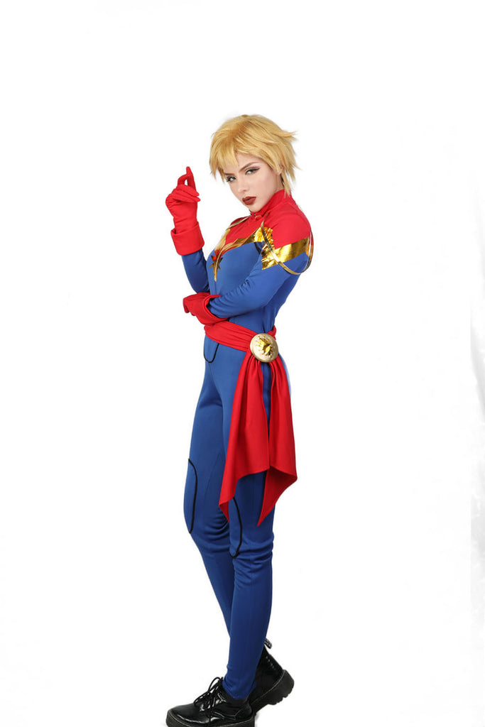 Xcoser Marvel Comics The Avengers Cosplay Captain Marvel Costume X Costumes Long sleeve printed red, gold and blue stretch jumpsuit; avengers cosplay captain marvel costume