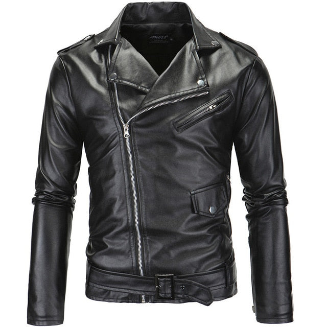 Motorcycle leather jacket men Slim Fit