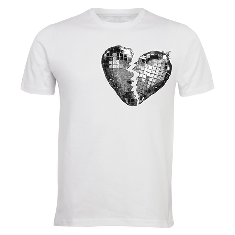 GLITTER HEARTBREAK WHITE TEE