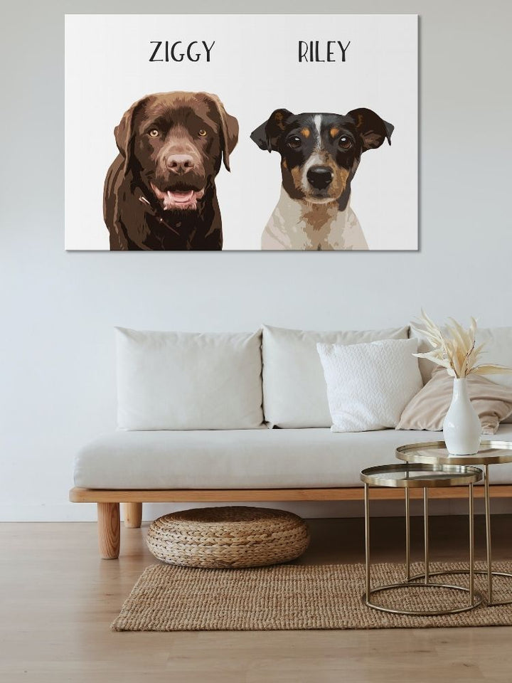 The Double Pawtrait - Custom Canvas Pet Art Work
