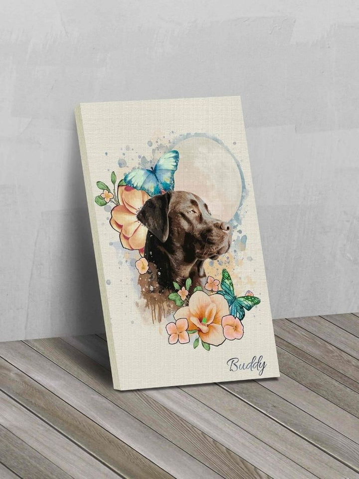 The Moonlit Garden Orange and Blue - Custom Canvas Pet Art Work