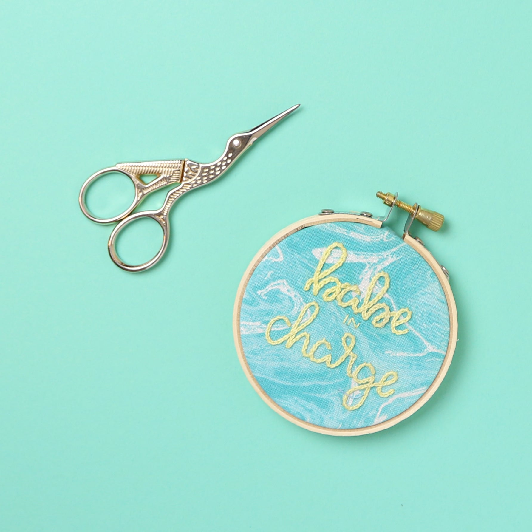 Babe in Charge Embroidery Hoop