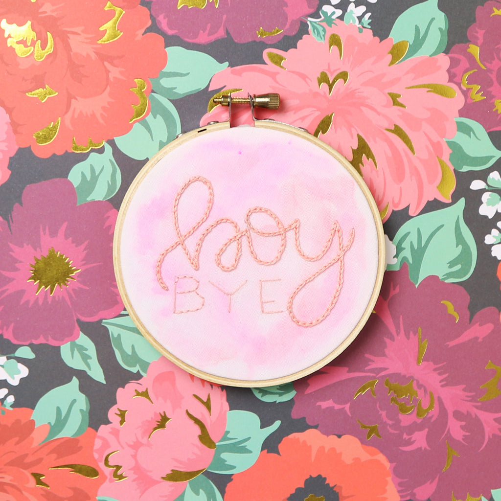Boy Bye Watercolor Embroidery Hoop