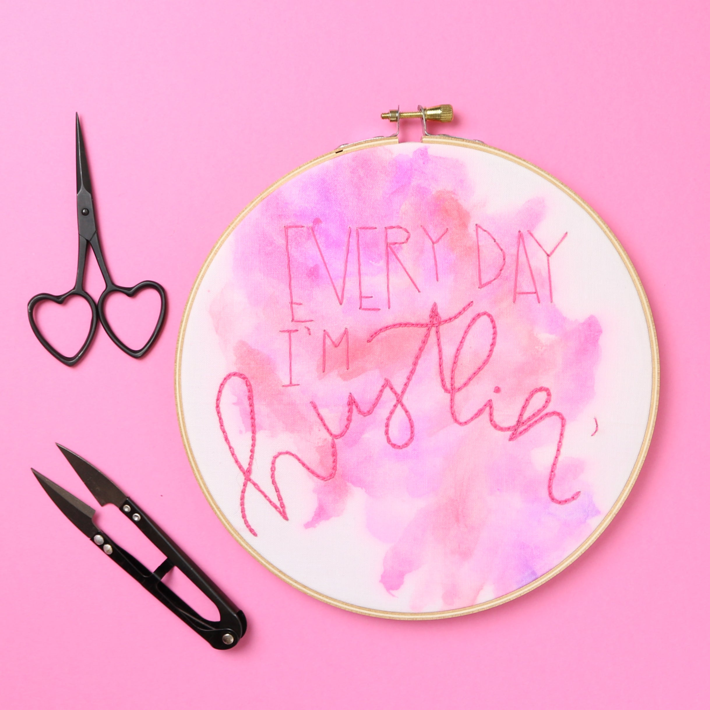 Every Day I'm Hustlin' Embroidery Hoop
