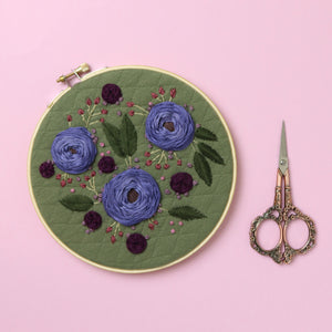 Purple and Olive Floral Embroidery Hoop