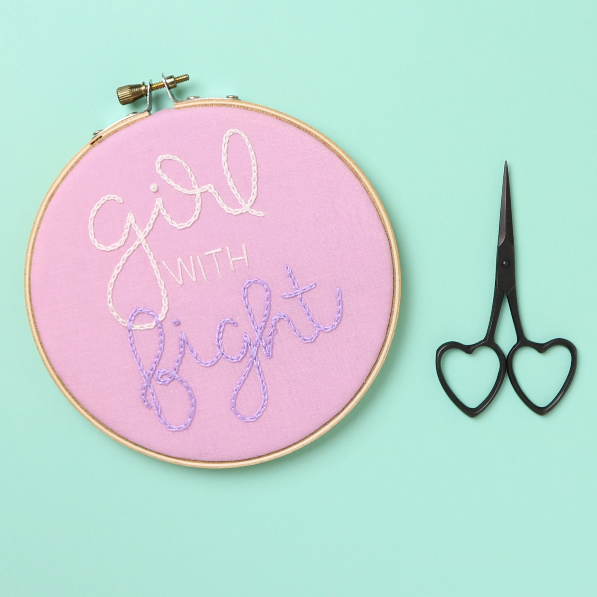Girl With Fight Embroidery Hoop