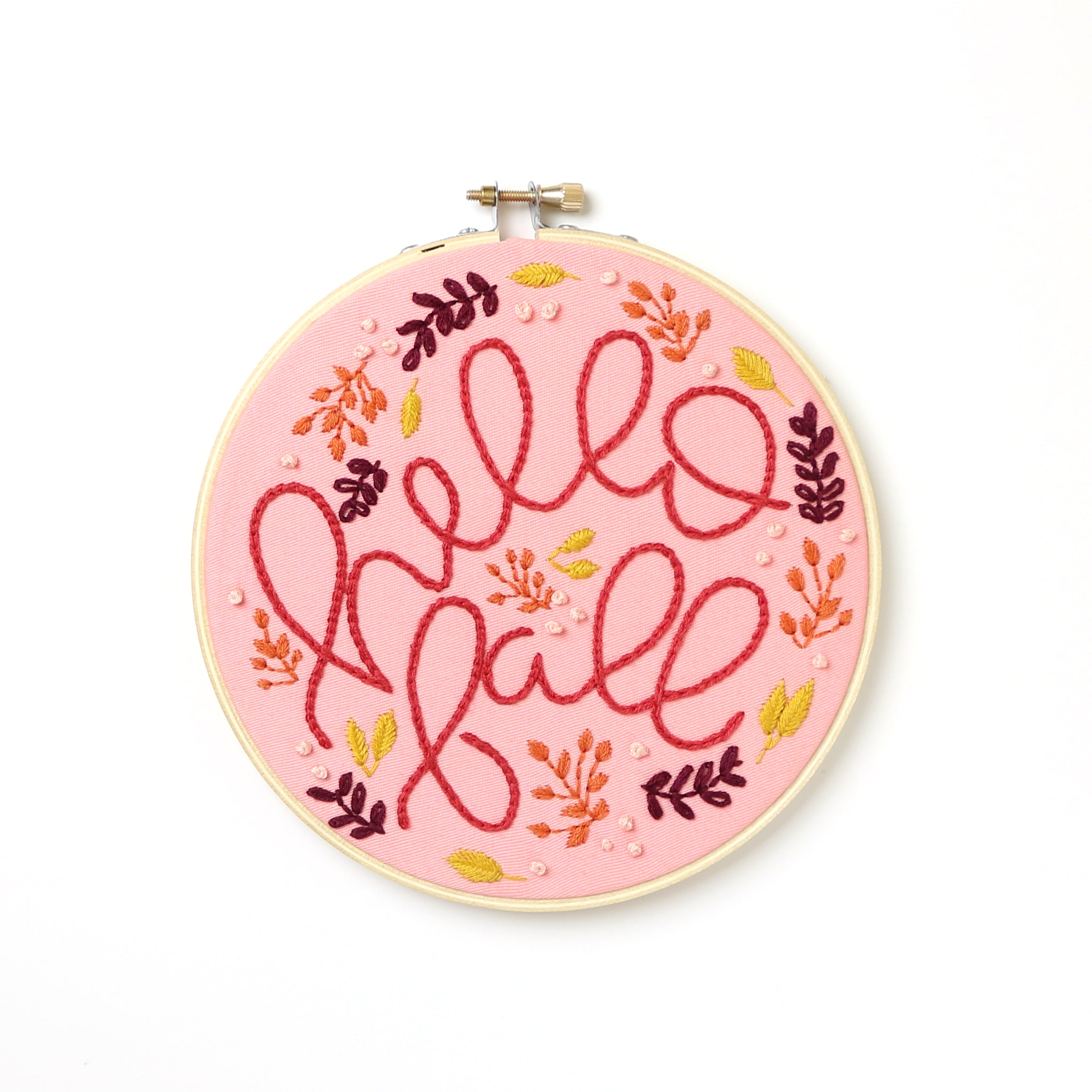 Hello Fall Embroidery Hoop