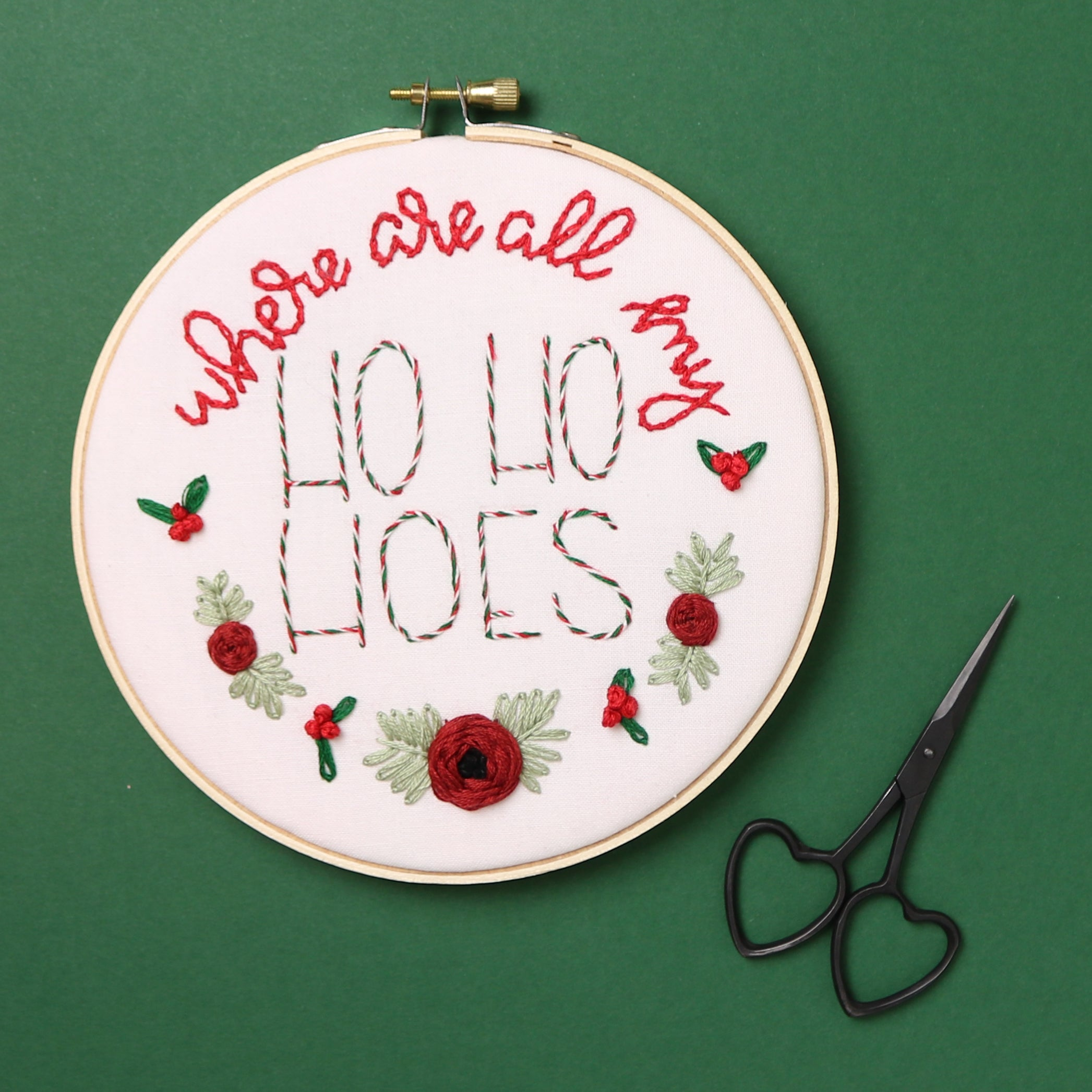 Where Are All My Ho Ho Hoes Embroidery Hoop