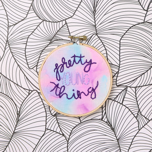 Pretty Young Thing Watercolor Embroidery Hoop