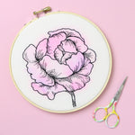 Peony Watercolor Embroidery Hoop