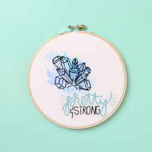 Pretty and Strong Watercolor Embroidery Hoop
