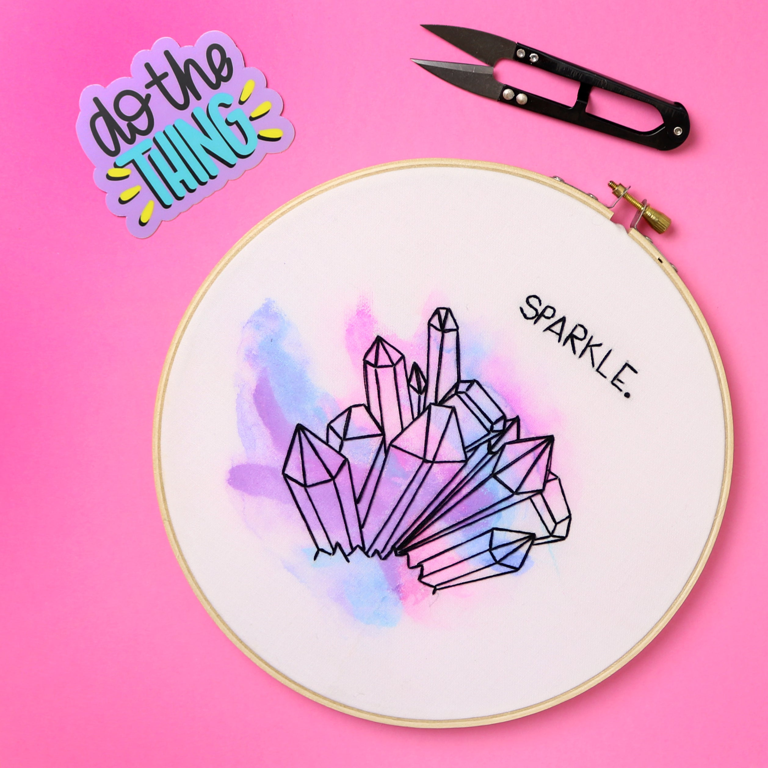 Sparkle Watercolor Embroidery Hoop