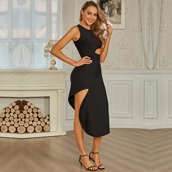 Chicas sexy all black dress with high slit dress long dress For women - CIVIBUY