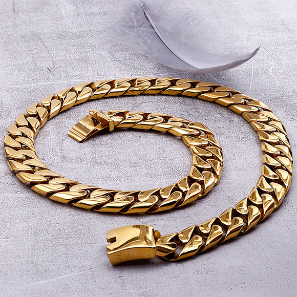 Men's Cuban chain necklace electroplating gold heavy chain - CIVIBUY