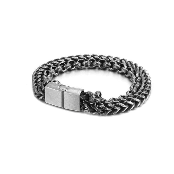 2-Strand Mens Bracelet Stainless Steel Chain and Bracelets for Men Perfect Gift - CIVIBUY