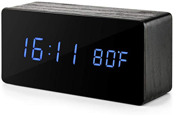 Pard Stylish Black Wood LED Clock with Voice Control Function and Temperature, Time and Date Display, Blue Display - CIVIBUY