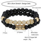 "8mm Charm Beads Bracelet for Men Women Black Matte Onyx Natural Stone Beads, 7.5"" - CIVIBUY"