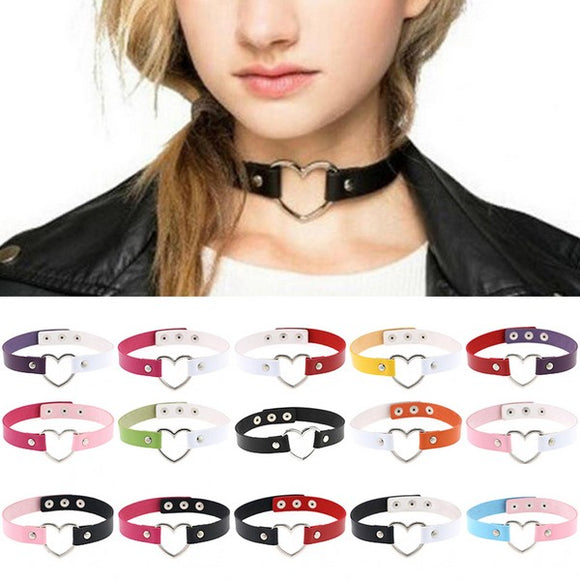 PU Leather Gothic Punk Choker Necklace with Heart Shape Necklace - CIVIBUY