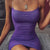 Mini Sexy Dresses Women Night Party Club Dress Spaghetti Strap Bodycon Purple Dresses - CIVIBUY