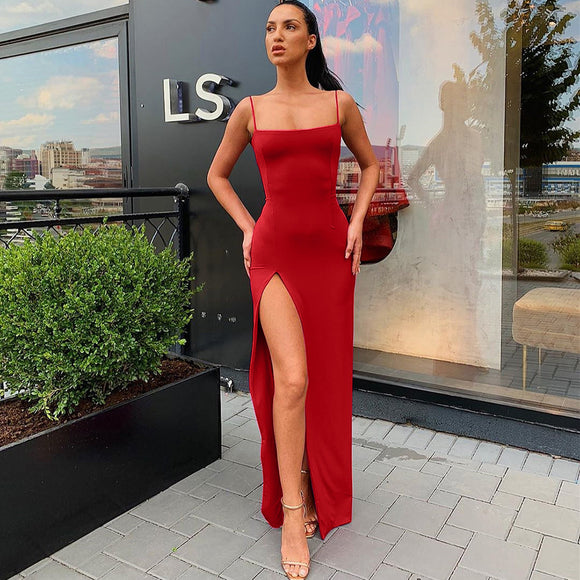High Slit Dress Sexy Women's Dresses Strap Backless Red Split Maxi Dress - CIVIBUY