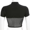 Shirt Women Black Mesh T-Shirts Cropped Top Clubwear Skinny Slim Fit Top - CIVIBUY