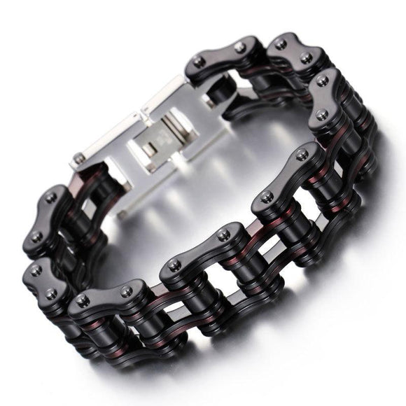 Biker Jewelry Bracelet Energy Red Bracelets Men's Stainless Steel Motorcycle Chain Bracelet - CIVIBUY