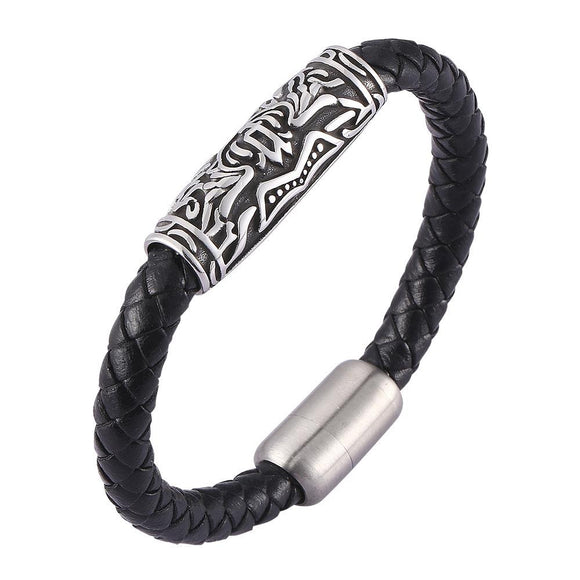 Braided Leather Bracelet for Men Women Wrist Cuff Bracelet rune bracelet - CIVIBUY