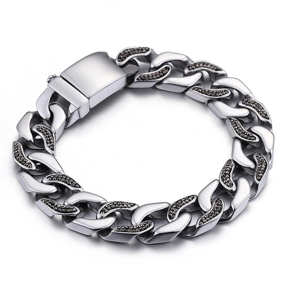 Free shipping Diamond in Vogue Personality men's  steel bracelet TTK-S54 - CIVIBUY