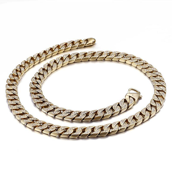 HipHop Stainless steel jewellery All diamonds Men Bracelet necklace Cuban chain - CIVIBUY