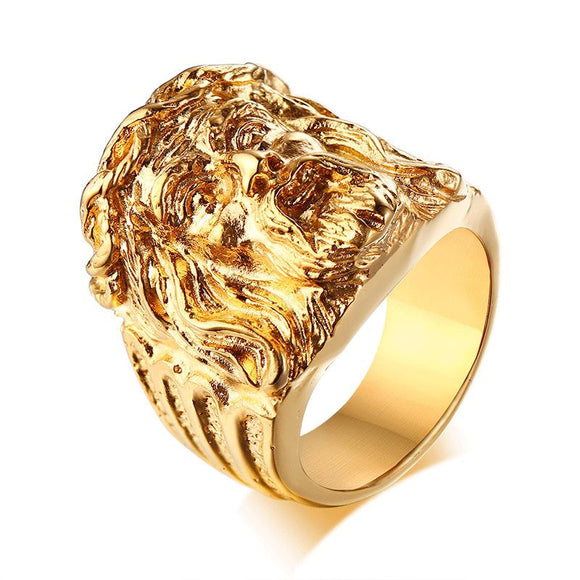 Jesus Head Ring Gold Rings Mens Rings - CIVIBUY