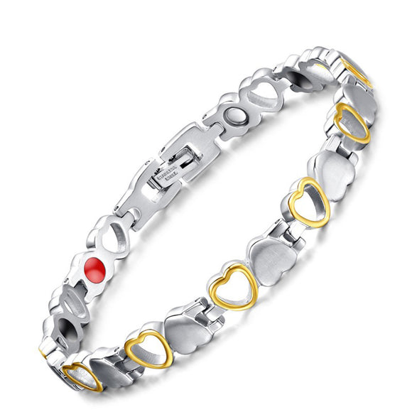 Magnetic Therapy Bracelet Magnet Bracelets for Women Arthritis and Joint Pain Silver Gold - CIVIBUY