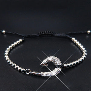 Luxury CZ  Fish Bracelets with 8mm Micro Cubic Zirconia Beads Jewelry for Women Men - CIVIBUY