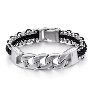 Mens Leather Bracelets Leather Bracelets for Men Titanium Chain 8.46(21.5cm)  Bracelets Leather Stainless Steel Magnetic Clasp - CIVIBUY