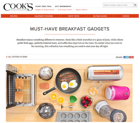 "PoachPod makes ""Must-Have Breakfast Gadgets"" Guide By Cook's Illustrated"