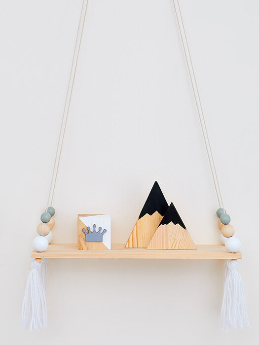 Wood Swing Shelf With Tassel