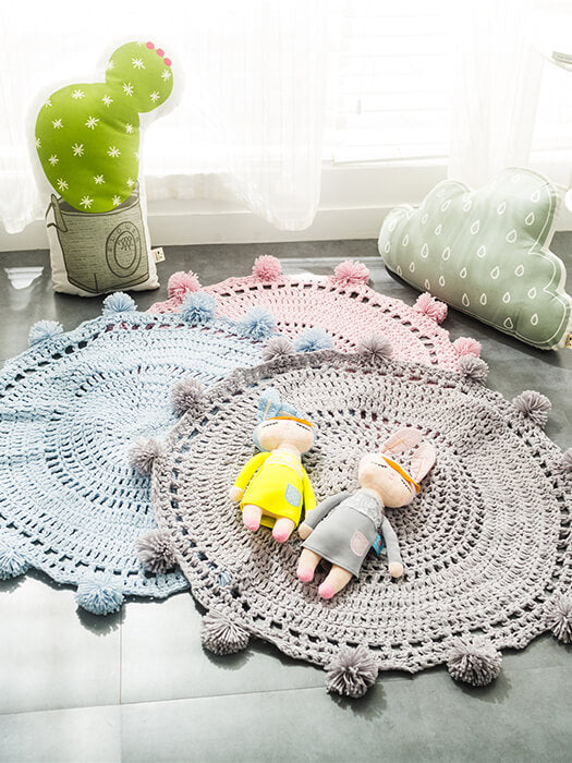 Fuzzy Ball Knit Mat Chill And Slay-50% Off-Free Shipping