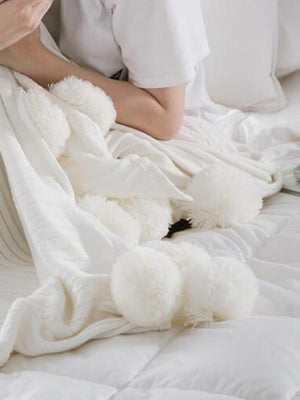 Fuzzy Pom Pom Blanket Chill And Slay-50% Off-Free Shipping