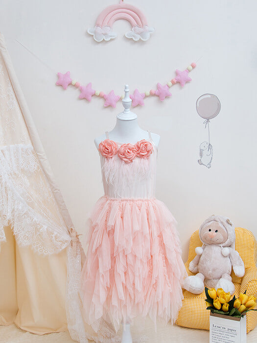 Feather Flower Tulle Dress