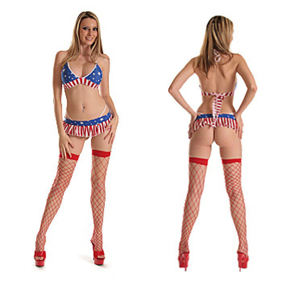 1128-Flag Print Bikini Top Mini Skirt Set