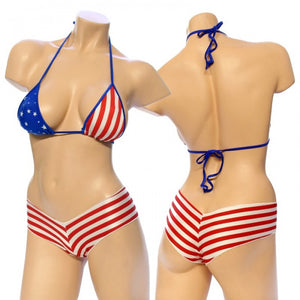 Exotic. Star and Stripe Flag Print Bikini Top Short Set.  HE-1171